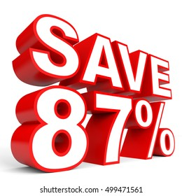 Discount 87 percent off. 3D illustration on white background.