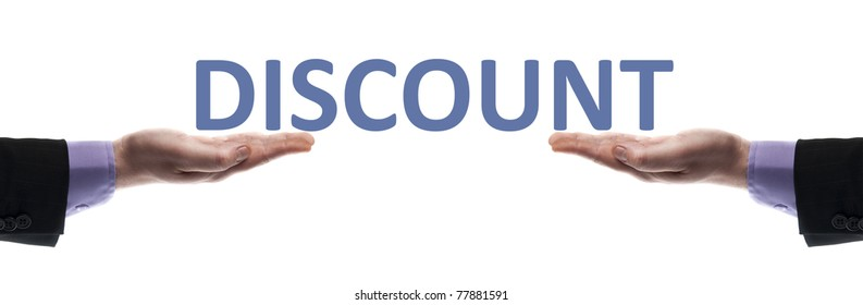 Discount message in male hands