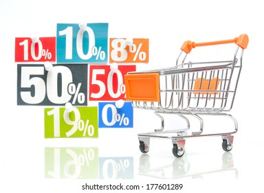 Discount - orange colored shopping cart with multicolored percent newspaper adverts