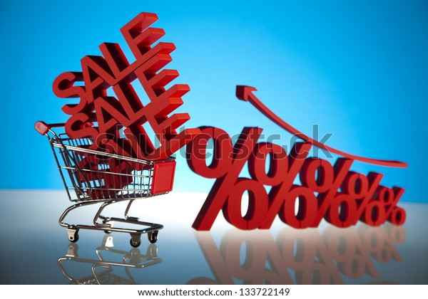 Discount, Shopping cart with sale