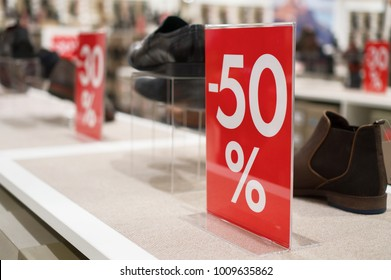 Discounts in the shopping center. 50 percent discount.