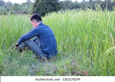 Discouraged farmer sit on ground at rice field at evening. Back view.