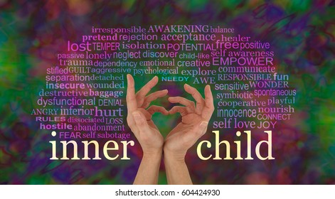 Discover and learn to love your Inner Child - female hands making a heart shape with the words INNER CHILD at wrist level and a relevant word cloud above on a rich multi-colored background