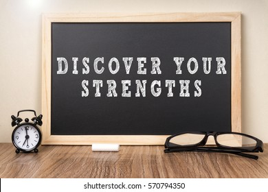 Discover your Strengths word on chalkboard.
