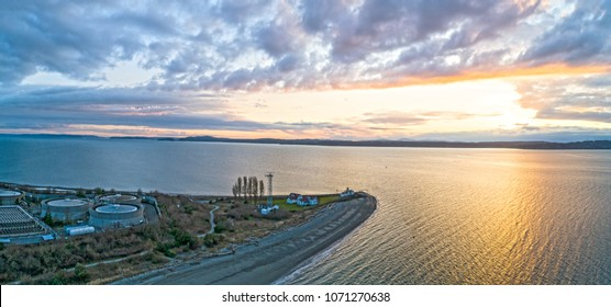 Discovery Park Lighthouse Point Sunset Seattle Washington Aerial View