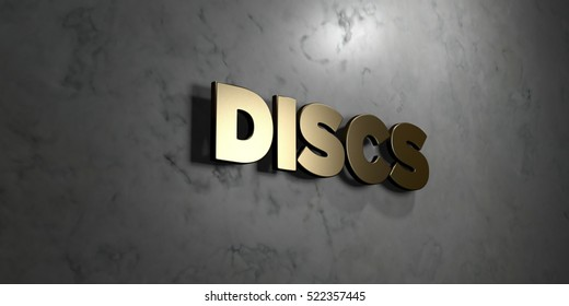 Discs - Gold sign mounted on glossy marble wall  - 3D rendered royalty free stock illustration. This image can be used for an online website banner ad or a print postcard.