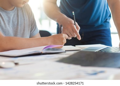 Discussions and work plans. New young businessmen discuss strategies and plan to start a business. University students discuss academic projects with notes.