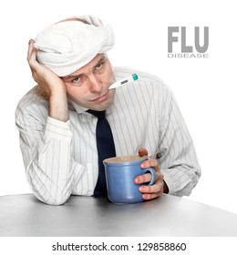 Diseased man in the office. Infection control concept.