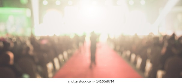 Disfocus of the red carpet in the award ceremony theme creative. background for success business concept