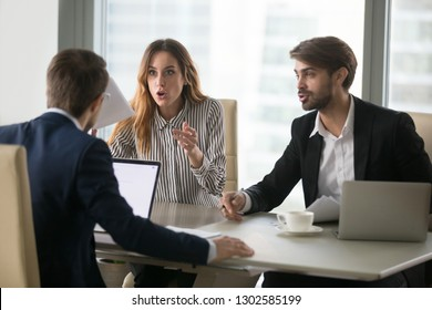 Disgruntled workers or dissatisfied angry clients customers arguing having complaint dispute conflict with lawyer about bad contract demanding fraud compensation negotiating at work office meeting