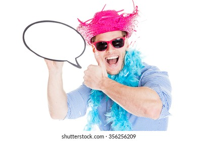 Disguised young man with speech bubble - photo booth photo