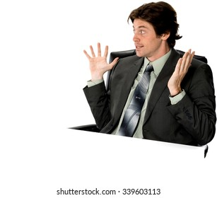 Disgusted Caucasian man with short dark brown hair in business formal outfit showing stop hand - Isolated