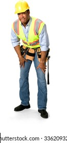 Disgusted Male Construction Worker with short black hair in uniform with hands on thighs - Isolated