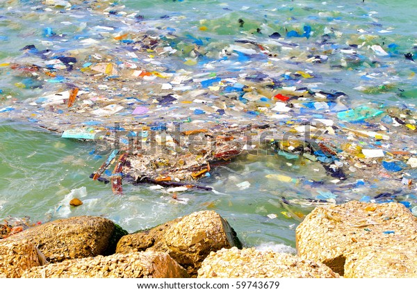 Disgusting pile of pollution floating in the sea