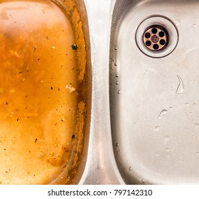 Disgusting, unhygienic wash basin compared with non-oily clean wash bowl