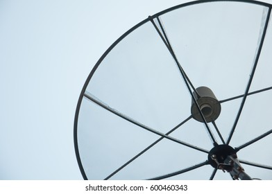 dish aerial, blue sky background