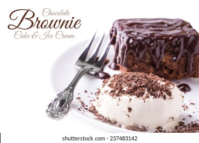 A dish of brownies and a ice cream and dessert fork on white background