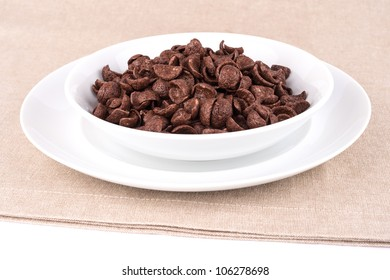 Dish with chocolate cereal flakes.