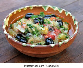 Dish of eggplant with olive