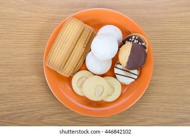 Dish of Eid El Fitr Cookies ( Kahk - Ghorayeba - El Eid - Translation : Cookies of El Fitr Islamic Feast