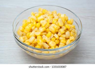 dish of fresh corn grains close up