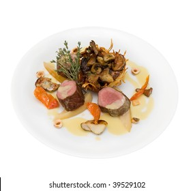 dish (fried fillet of deer with assorted wild mushrooms)
