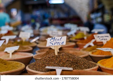 Dish with Hot Meat Seasoning and Sign Meat Spice, at the Spice Shop at the Oriental Bazaar in Jerusalem