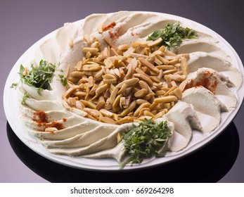dish of hummus with  Arabian Appetizer