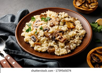 A dish of Italian cuisine - risotto from rice and mushrooms in a brown plate.