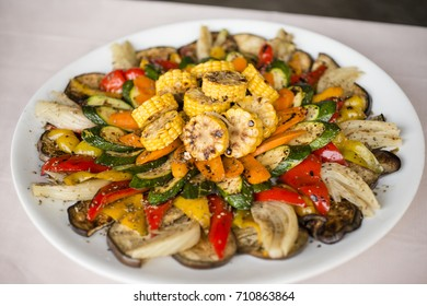Dish of Italian grilled vegetables for meat meal.