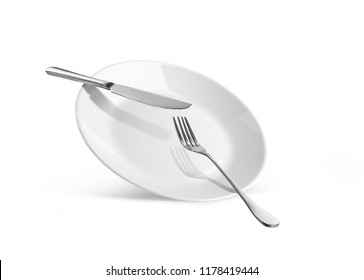 dish with knife and fork isolated on white background