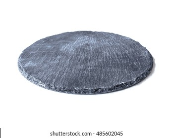 Dish made of natural black slate isolated on a white background