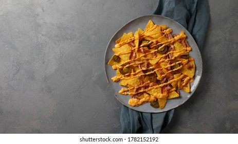 a dish of nachos with copy space