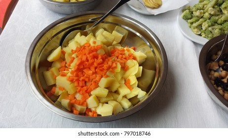 dish of potatoes and carrots