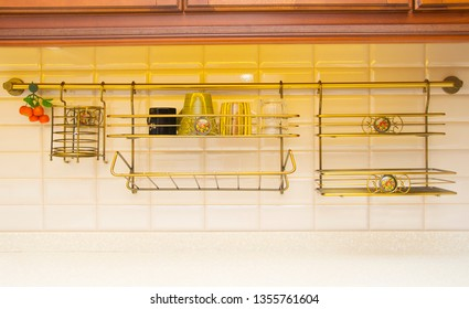 Dish rack with cups on kitchen countertop