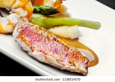 Dish of red mullet and various vegetable