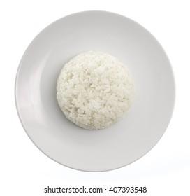 dish of rice isolated on white background