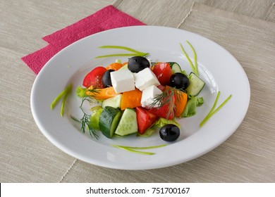 The dish of salad in Greek.