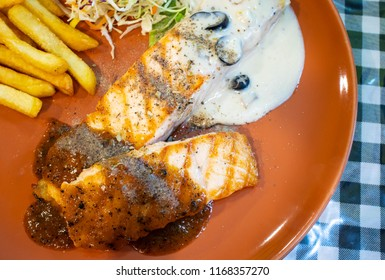 dish of salmon steak