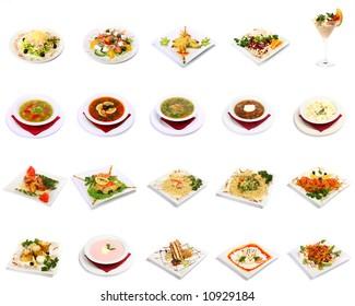 dish selection isolated on white background