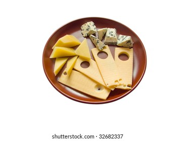 Dish with snack from several sorts of the tasty aromatic cheese