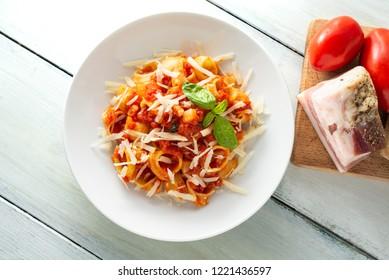 Dish of snail pasta amatriciana