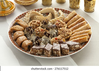 Dish with traditional fresh baked Moroccan cookies