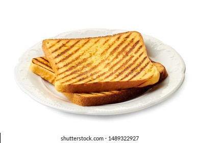 Dish with two roasted slices of bread on white