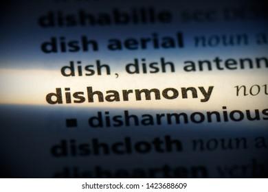 disharmony word in a dictionary. disharmony concept.