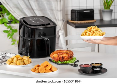 dishes cooked in the airfryer on the kitchen table