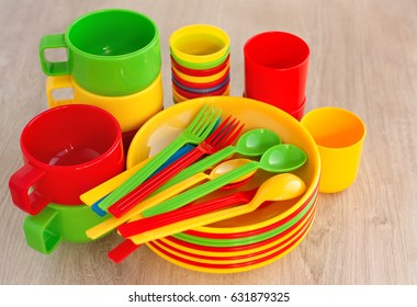Dishes from plastic for picnic and c&ing. Plastic tableware for a picnic. The set & Colored Plastic Ware Tableware Picnic Made Stock Photo \u0026 Image ...