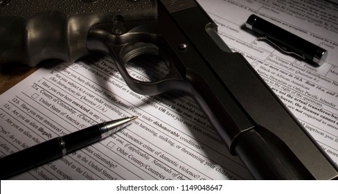 Dishonerable discharge question on firearm purchase paperwork highlighted