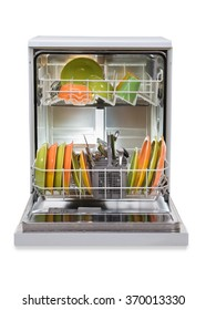 Dishwasher full of utensils isolated against white background