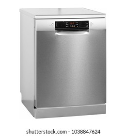 Dishwasher Isolated on White Background. Side View of Modern Freestanding Stainless Steel Dishwasher Machine. Domestic Appliances. Kitchen Appliances. Household Appliances. Clipping Path